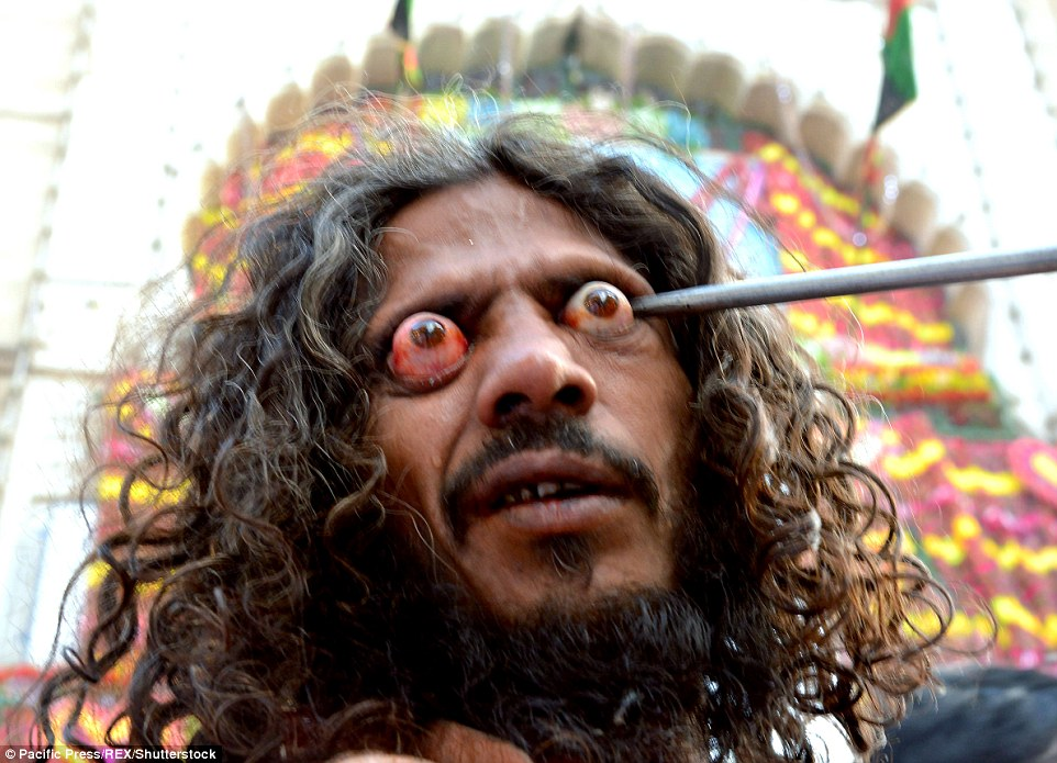 One man gauged at his own eye during the Mahorram procession in Ajmer India on October 12