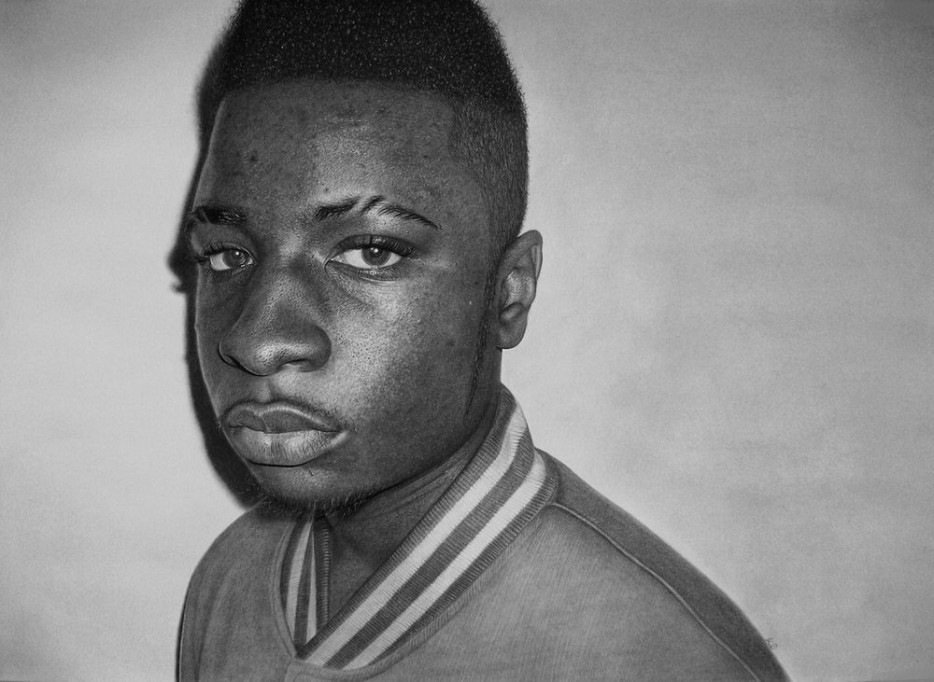 Kelvin Okafor - Graphite and charcoal on sketching paper
