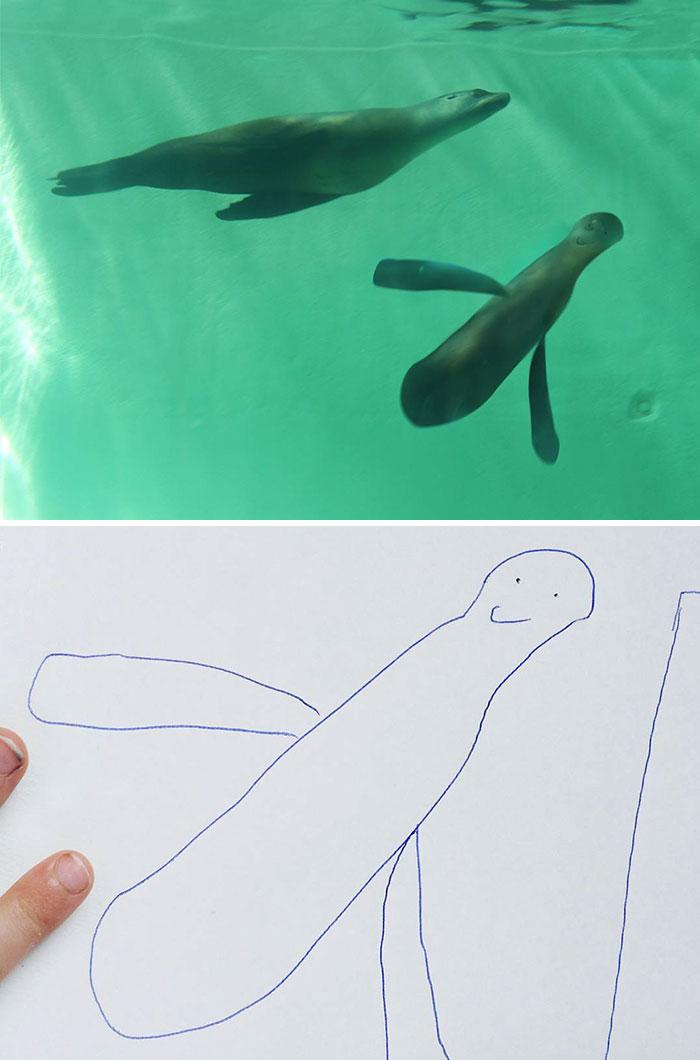 6歲兒子畫出的東西根本認不出來,神PS老爸把他作品「P成真實事物」網路爆紅!(29張)