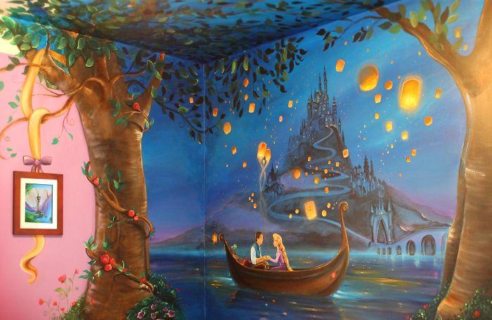 媽媽為女兒打造「史上最強《魔髮奇緣》壁畫」 完美到網友爆忌妒問:缺乾女兒嗎?