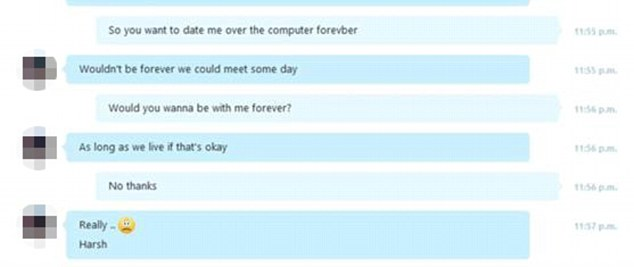 Alleged examples of conversations between Hanna and a man online