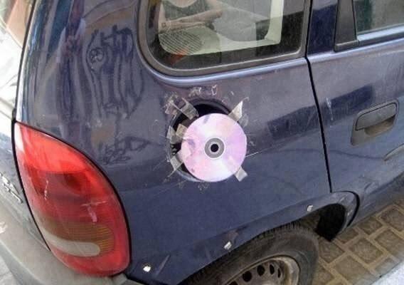 This fantastically repaired petrol cap.