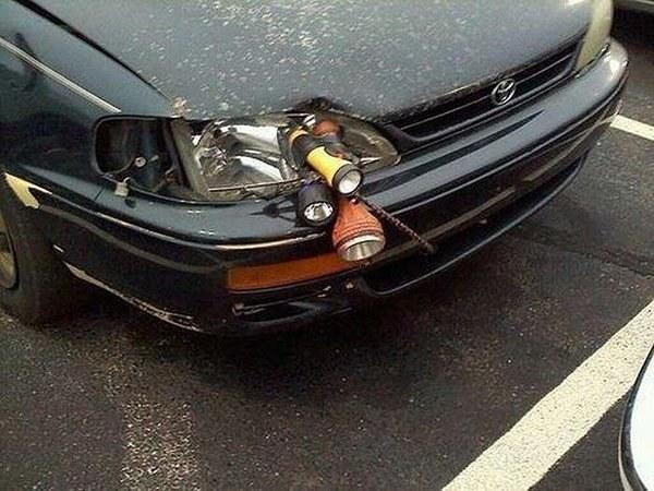 This super legit headlight fix.