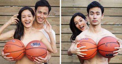 Janet與老公竟然一起「露出籃球奶」,就是為了你的健康!