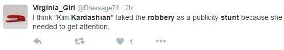 金卡達夏遭搶2.8億現在警方認為事情很不單純,網友的回覆更是令金卡達夏心寒。
