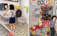 這些插畫讓台灣網友們感覺過去的「回憶被人畫出來」,那澡缸認出來了嗎?