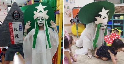 幼稚園老師化身為「星巴克女神」竟嚇到小孩,小朋友嚇到以為是七爺八爺...