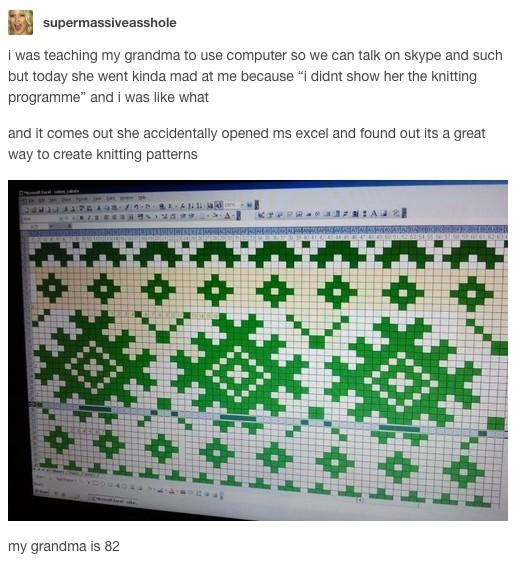 18個「比叛逆期青年更加猛」的超爆笑爺爺奶奶,#13 Excel其實是編織程式!