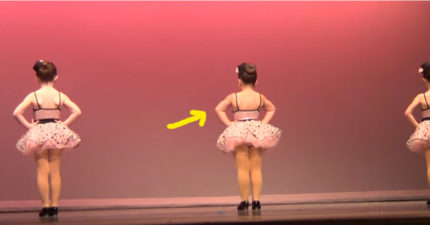 3個6歲小女生上台表演「但她們不知道中間那個已經暴走了」,一轉過身大人都笑噴了!