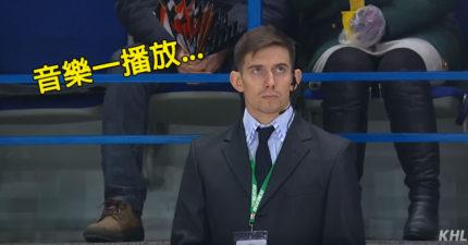 比賽鏡頭拍到天菜保安人員,音樂一播放「他脫衣動起來」觀眾都不想看比賽了!