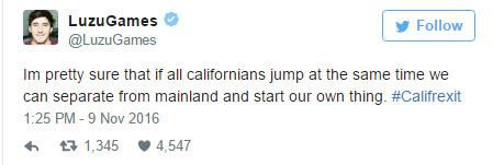 川普勝選之後加州選民崩潰表示「決定脫美獨立」,聯署網站更認真列出9大優點!