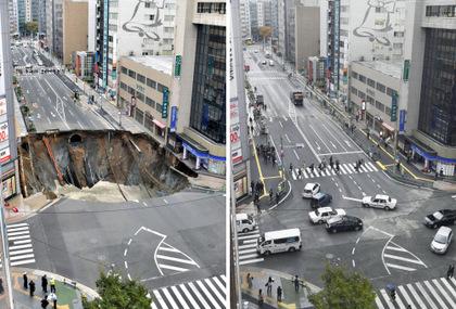 才剛修好!福岡博多車站「巨洞又塌陷了!」現在緊急進行交通管制。