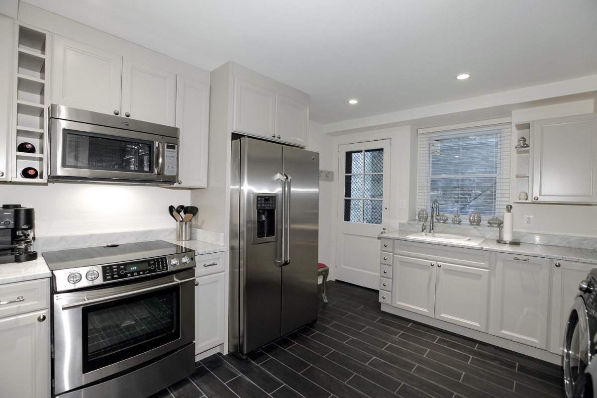 The laundry room in the basement doubles as a second kitchen.