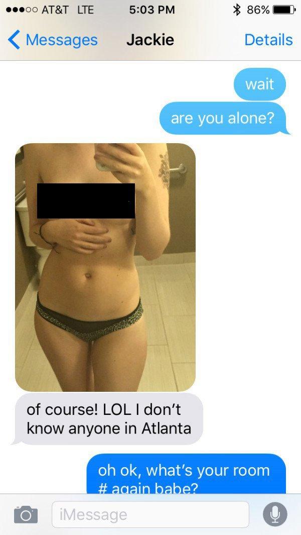 波霸女去「商務旅行」時跟男朋友傳調情的簡訊,不小心被眼尖的男友發現了背景...