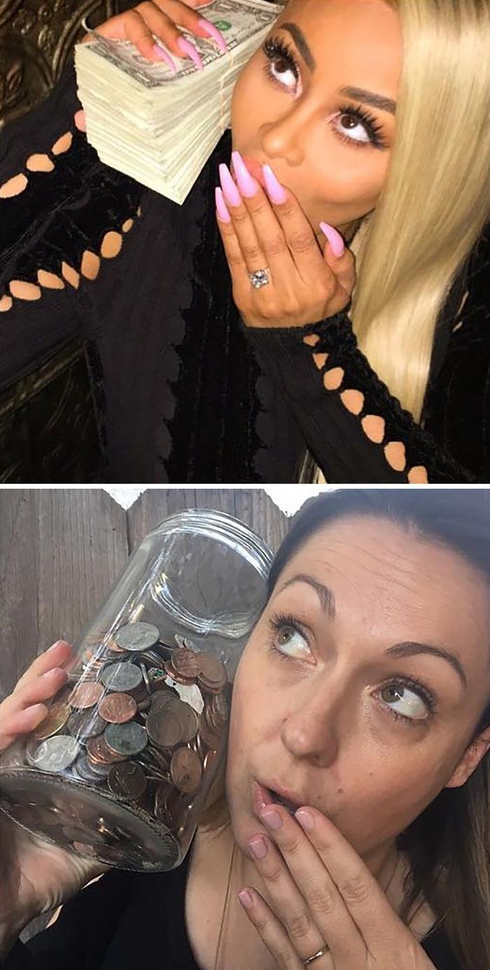 40張把藝人美麗IG照嗆爆的「搞笑翻拍照」。#2凱特阿普頓超性感濕透但被玩壞。