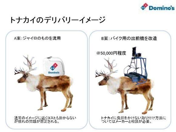 這冬天北海道會太冷,因此達美樂就已經開始訓練「用馴鹿送披薩」!