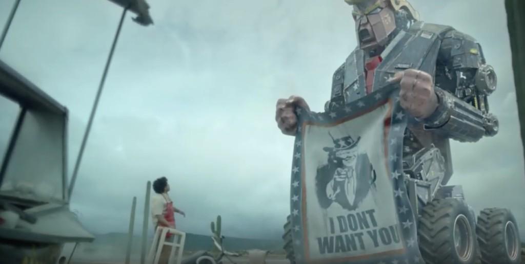 這就是川普獲勝1年後的恐怖畫面?!比好萊塢電影還棒「川普機器人大戰墨西哥人」!