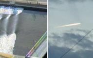 日本7.4大地震,政府發出海嘯警報後,有網友在天上拍到「末日火球」!
