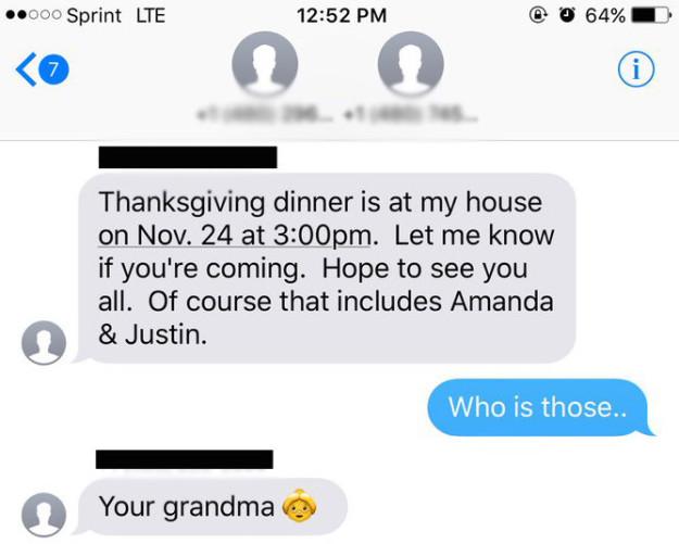 奶奶想約「孫子」吃感恩節大餐卻不小心傳錯人 沒想到最後「多了一個孫子」超溫馨!