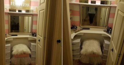 她抱怨家裡浴室老是被占用,神級完美老公聽到後2天內把衣櫥改造成「完美女生基地」女生都想嫁!