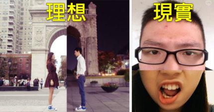 女生跟當兵男友本來想模仿「遠距離戀愛唯美照」,但最後出來的照片「超崩壞」讓網友都笑噴推爆!