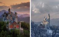25張美到讓你停止呼吸的「世界名勝下雪前後對比照」!#1《冰雪奇緣》艾莎的城堡!
