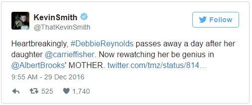 《星際大戰》莉亞昨天剛去世,母親黛比雷諾今天「死於心碎」!兒子:「她想跟女兒一起」。