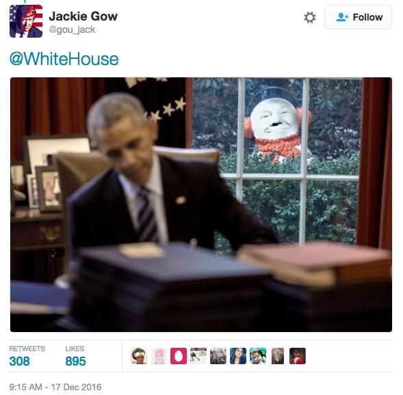 白宮驚傳「詭異雪人偷窺歐巴馬」毛到不行,歐巴馬「終於發現」反應證明了他不應該卸任!
