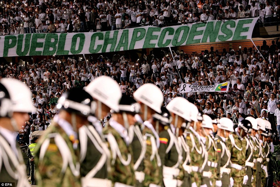 Thousands gathered at Atanasio Girardot Stadium in Medellin to observe a minute of silence in memory of plane crash victims