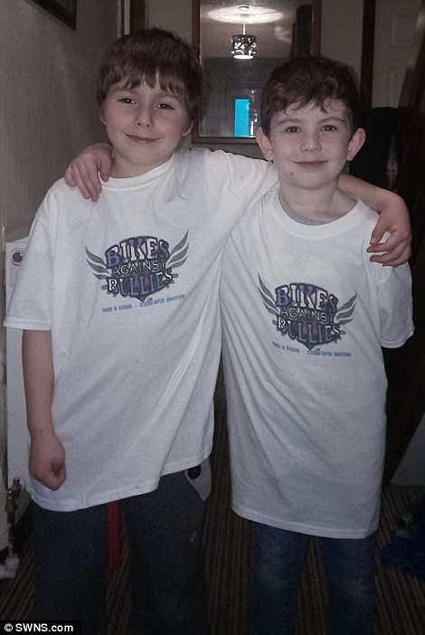 Connor's mother Kristina, 27, said: 'The boys (pictured) were shocked, they loved it. They were expecting a few and it was 40 in the end. They got a mug and a membership'