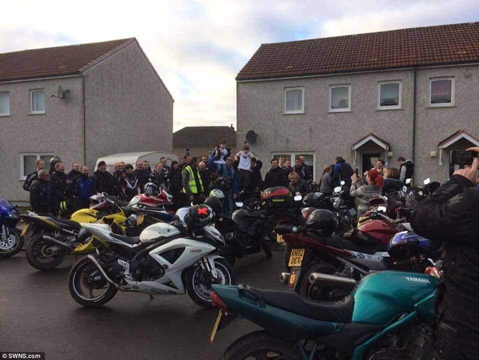 Emotional: Dozens of bikers turned out to support a seven-year-old boy who was attacked by bullies as he walked to the post box to send a letter to Santa Claus