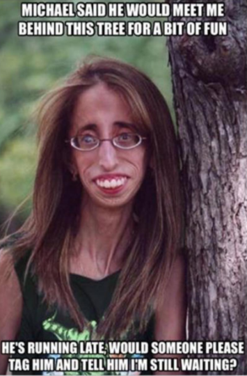 網友稱「世界最醜的她」被變成侮辱人的「梗圖」,她說:「一拳猛擊我的身體」。