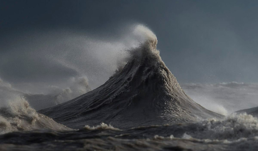 """""""The wave [in this photo] looks sort of like a mountain. I've already had it printed up for my own wall at home. These waves move so fast. It's insane how fast they form, and then from the time that they form to that nice peak to exploding, it's a mere second."""""""