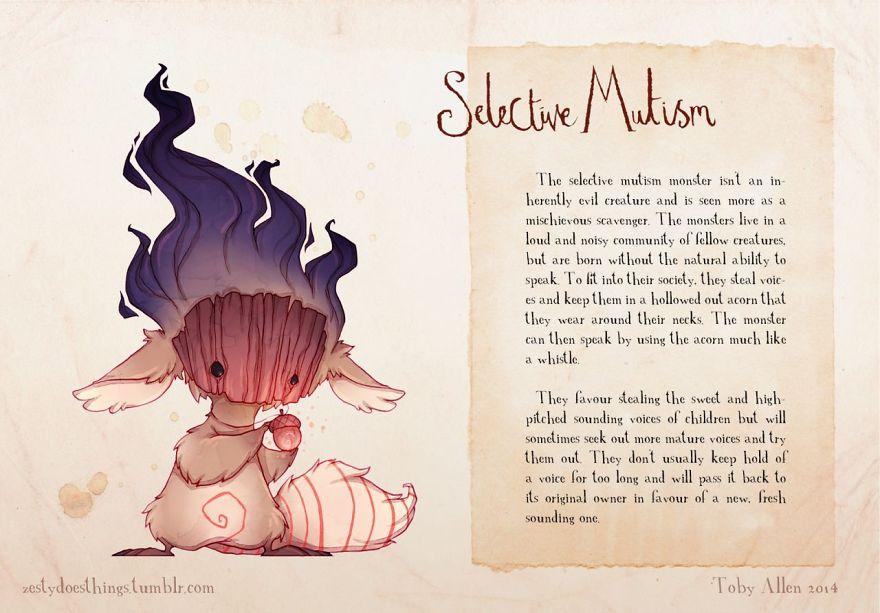 患有焦慮症的藝術家將「16種心理疾病」畫成附身人類的小怪獸。憂鬱症怪物很恐怖!
