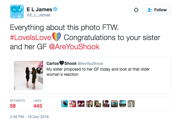 The well-known author E.L. James also congratulated the couple.