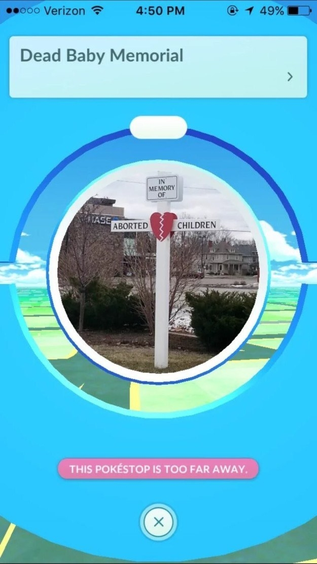 This totally inappropriate Pokémon Go stop.