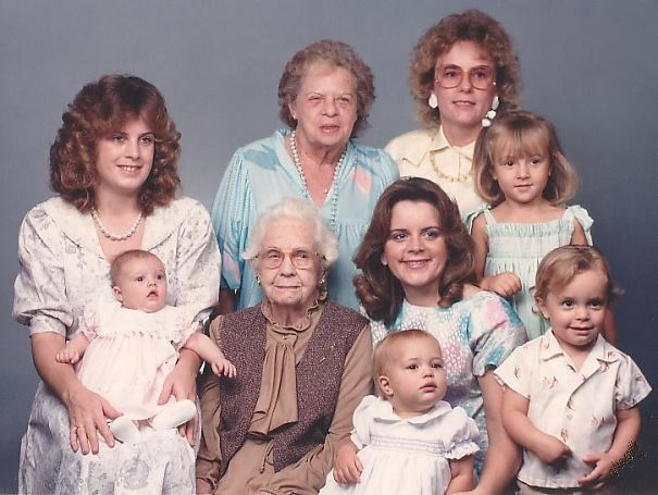 Five Generation Family Photo Taken In 1986