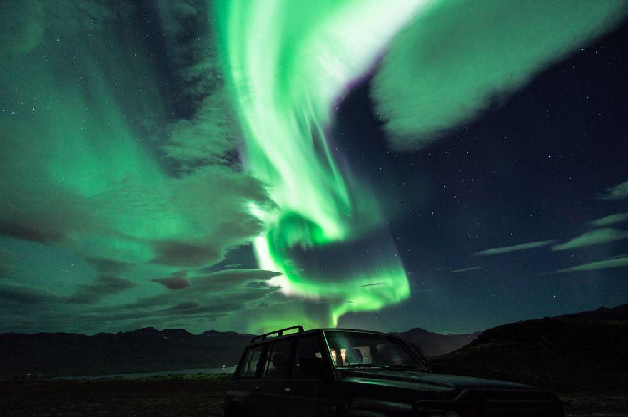 Aurora activity in east iceland