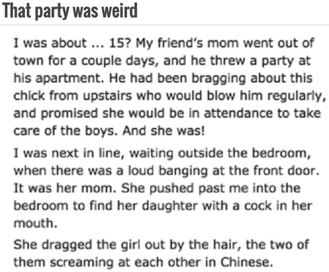 14個網友分享在派對上看過「最誇張的真實故事」,#1媽媽輪流幫兒子朋友口愛。(兒童不宜)