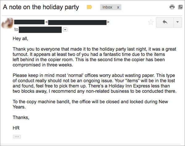公司影印室被人「佔據」愛愛,人事部做出了爆笑又正當的回應...