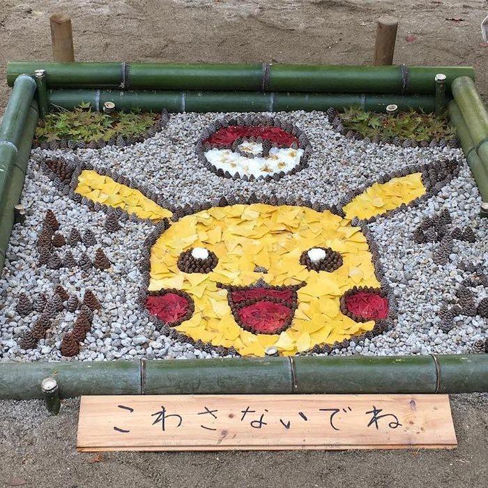 28個證明日本人94狂的「超美落葉藝術品」 超完整皮卡丘大頭太Q!