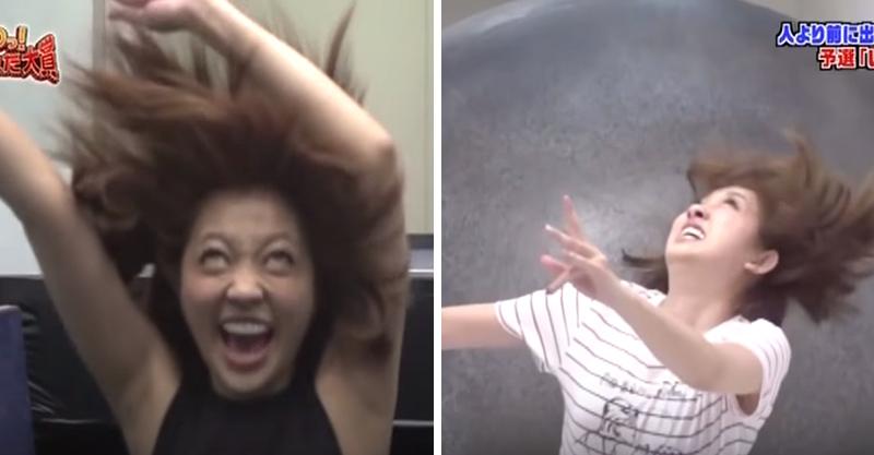 日本整人節目拍出女星被「巨石撞擊」又從電梯「掉下去」,表情100會讓你噴笑!