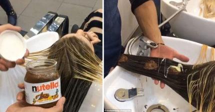 美髮師出奇招「把Nutella跟煉乳拿來當染髮劑」,成果簡直美呆了!