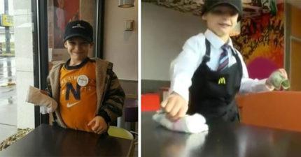 7歲男童「到麥當勞打工擦桌子」努力存錢,拼命「想當聖誕老公公」超感人!
