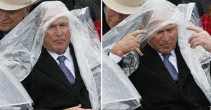 「就職典禮超大亮點」前總統布希跟雨衣PK超痛苦,最後終於獲勝露出燦笑超迷人!