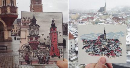 他在歐洲旅遊每到一處新景點,就當場畫下比眼中畫面更美的「城市之美」!(22張)