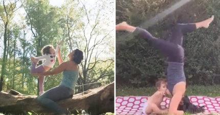 超狂媽媽「倒立瑜珈邊餵母奶」,小孩還「柯南上身」超淡定享用大餐萌死網友!