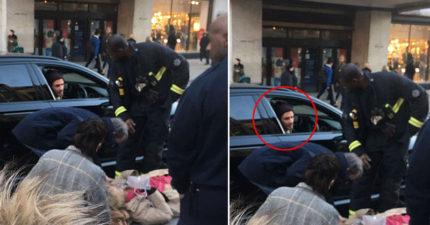 婦人過馬路跌倒起不來,男神貝克漢超暖心「用車保護」網友讚爆!