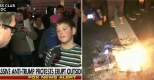 反川普民眾在街頭抗議「記者驚見小男生起火」還超霸氣嗆川普。網友:「他當總統我會選」!