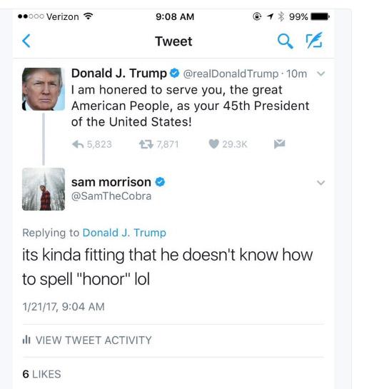 川普新上任後發推特表示為人民服務,卻因「小學生拼錯字」雖秒刪但慘遭網友酸爆!
